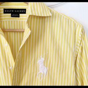 RALPH LAUREN Yellow Striped Big Pony Oxford Sz 2
